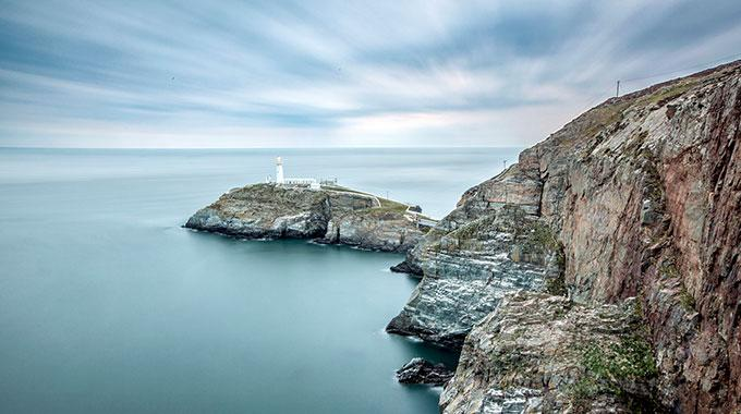 Picture of the South Stack lighthouse on Holy Island, off which the Holyhead Deep is located.