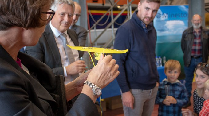 The winner of the naming competetion of the DG500 kite is announced at the Unveiling Event of Minesto's first utility-scale device in Holyhead, Wales.